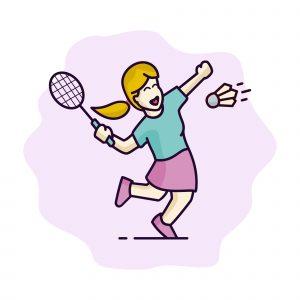 Girl Badminton Vector