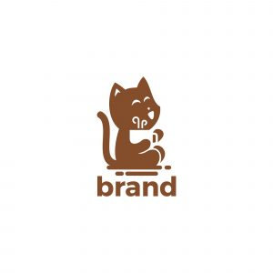 Coffee Cat Logo Template